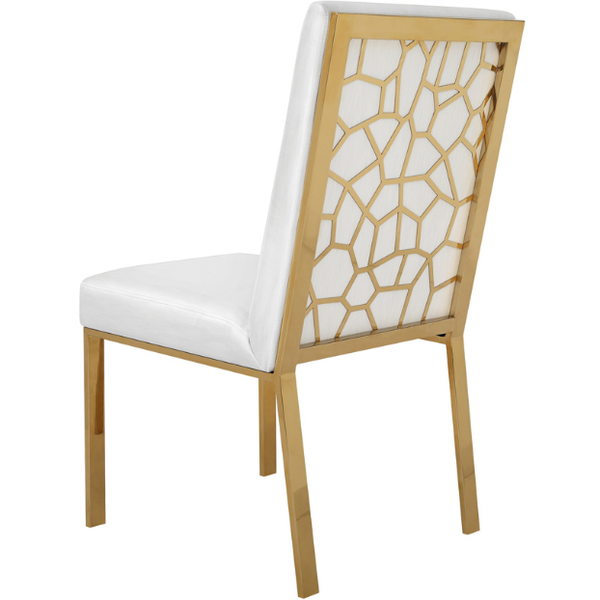 Wellington White With Polished Gold Dining Chair