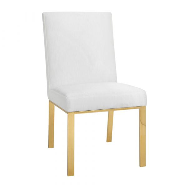 Wellington White With Polished Gold Dining Chair - Dream art Gallery