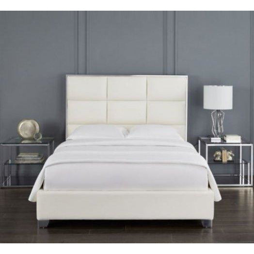 Blair White Leatherette Bed - Dream art Gallery