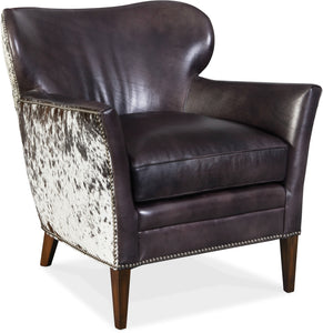 Hooker Furniture Living Room Kato Leather Club Chair w/ Salt Pepper HOH - Dream art Gallery
