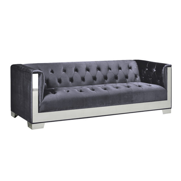 Chloe Charcoal Velvet Sofa - Dream art Gallery