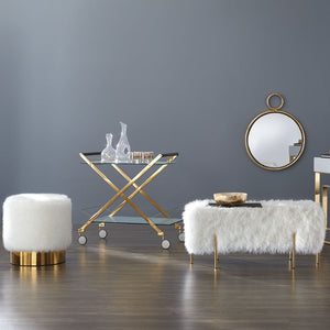 Kube Fur Gold Ottoman B - Dream art Gallery