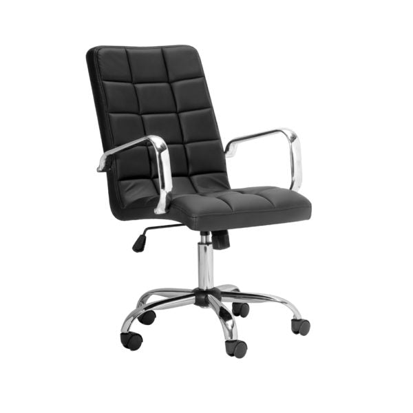 Selena High Back Black Leatherette Office Chair With Arm - Dream art Gallery