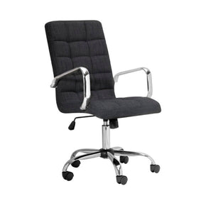 Selena High Back Grey Linen Office Chair With Arm - Dream art Gallery