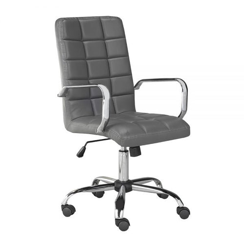 Selena High Back Grey Leatherette Office Chair With Arm
