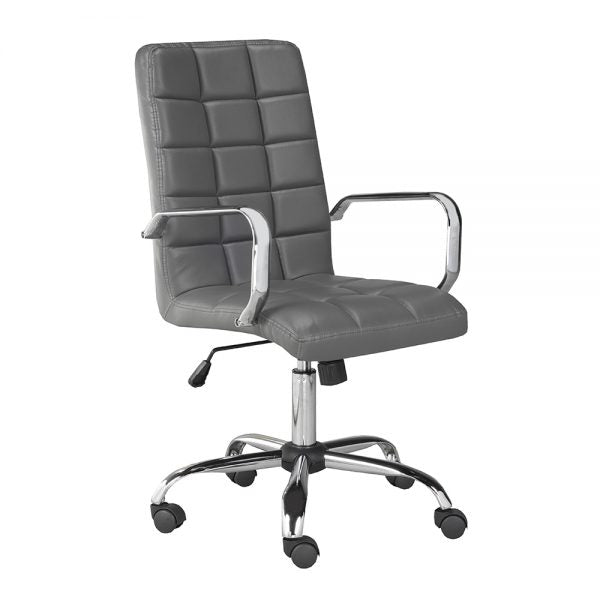 Selena High Back Grey Leatherette Office Chair With Arm - Dreamart Gallery