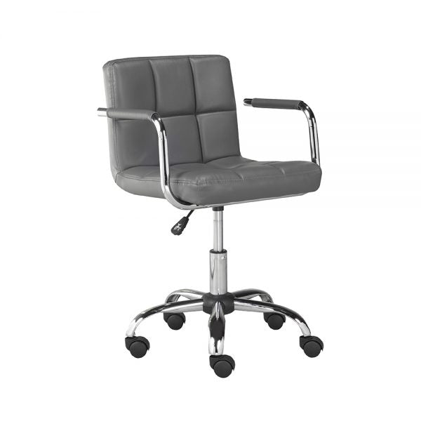 Selena Office Chair: Grey Leatherette - Dream art Gallery