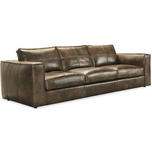 Solace Leather Stationary Sofa Brown