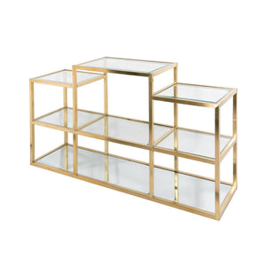 Multi-Level Gold Console Table