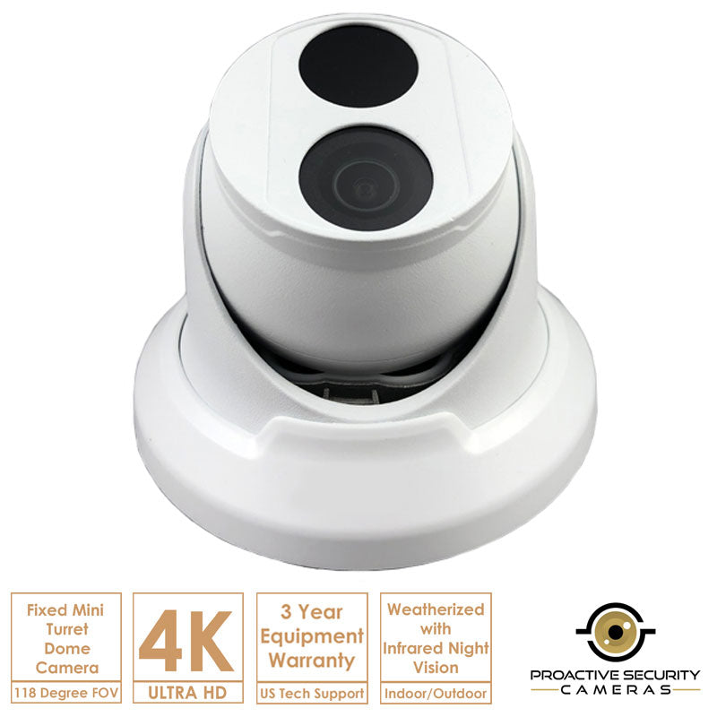 Mini turret dome camera with 118 degree field of view.