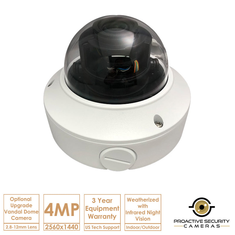 Upgrade-able dome cam option with vari-focal lens.