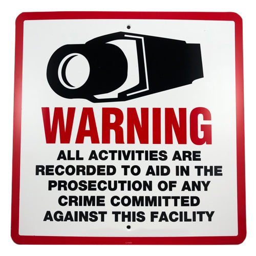 Deter crime, acts of vandalism and theft with a warning sign.