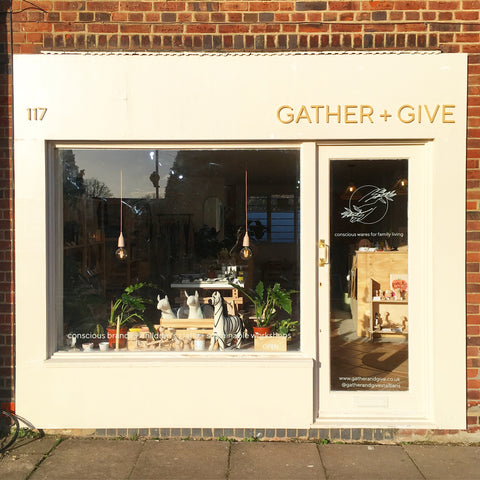 gather and give st albans shop front - sustainable gifts for children, adults and the home