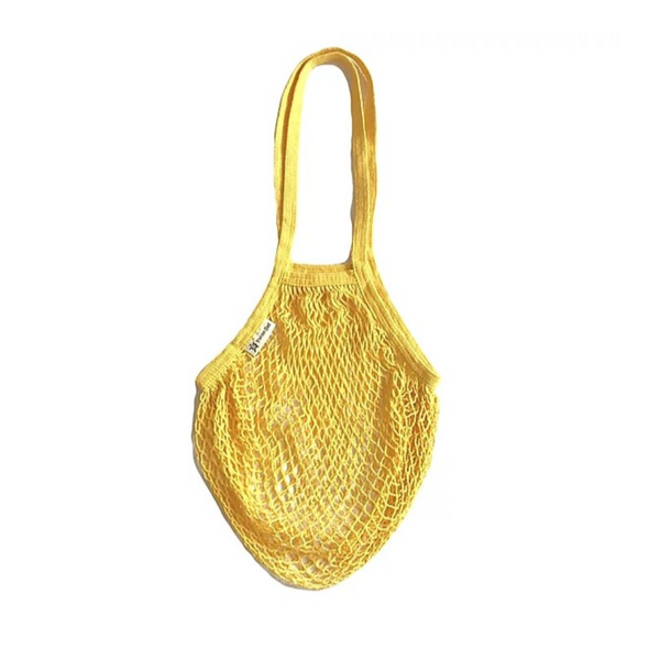 organic string bag with long handles in sunflower yellow