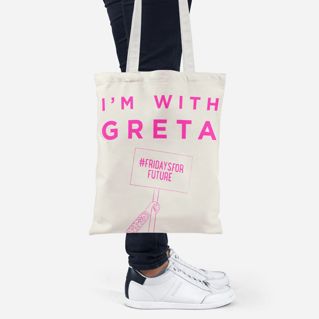 I'm with Greta recycled tote bag in pink