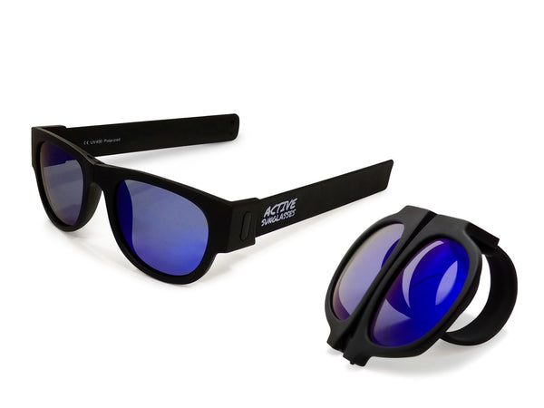 Active Sunglasses - Black - Deep Blue Mirror