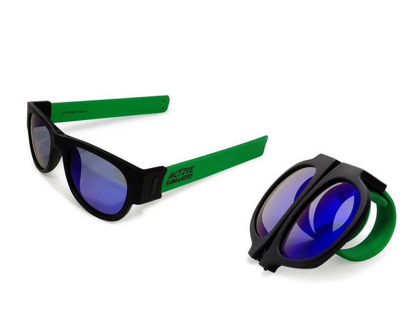 Active Sunglasses - Green - Deep Blue Mirror