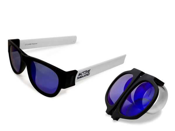 Active Sunglasses - White - Deep Blue Mirror
