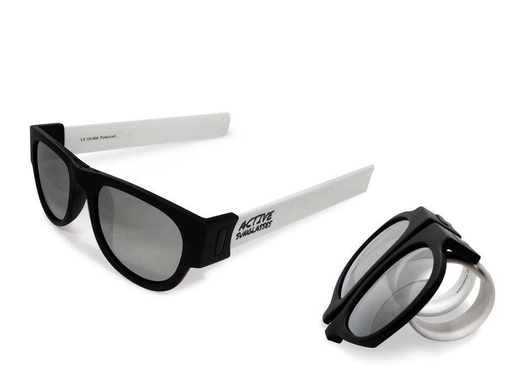 Active Sunglasses - White - Silver Mirror