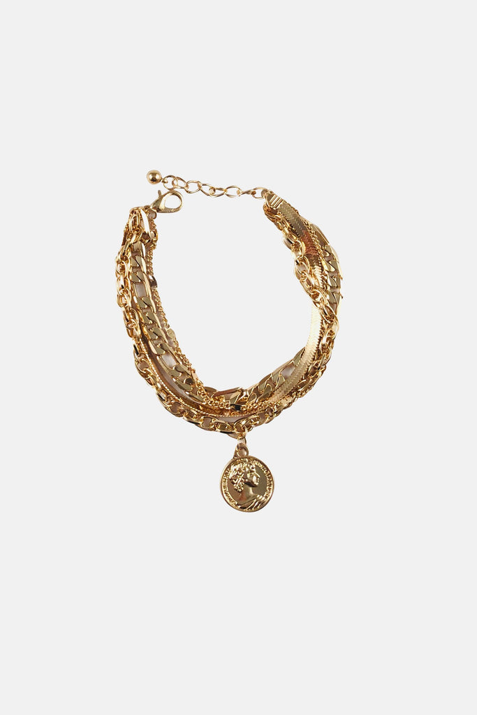 GOLD COLORED COIN BRACELET For Sale Online | Mehmory