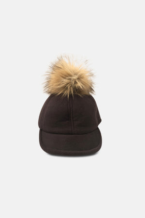 CAP WITH MINI FAUX FUR ON TOP - Ladies Caps & Hats | Mehmory