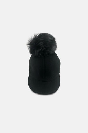 BLACK CAP WITH MINI FAUX FUR ON TOP - Caps & Hats | Mehmory