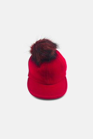 RED CAP WITH MINI FAUX FUR - Ladies Caps & Hats For Sale | Mehmory