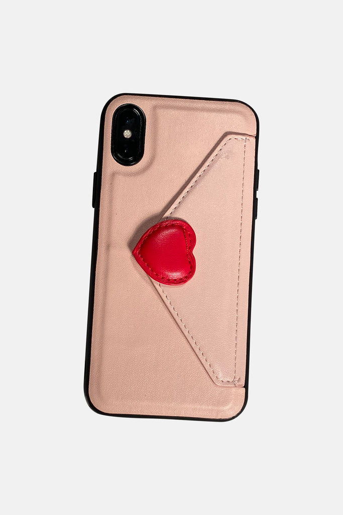 PINK WALLET IPHONE CASE WITH RED HEART