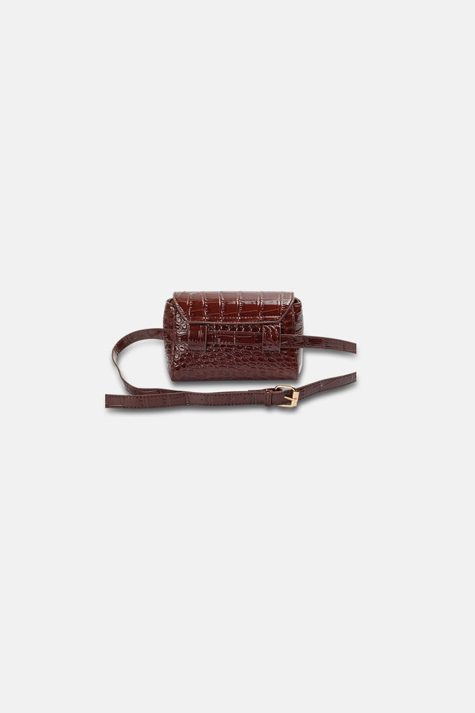 BROWN CROC CROSSBODY BELT BAG