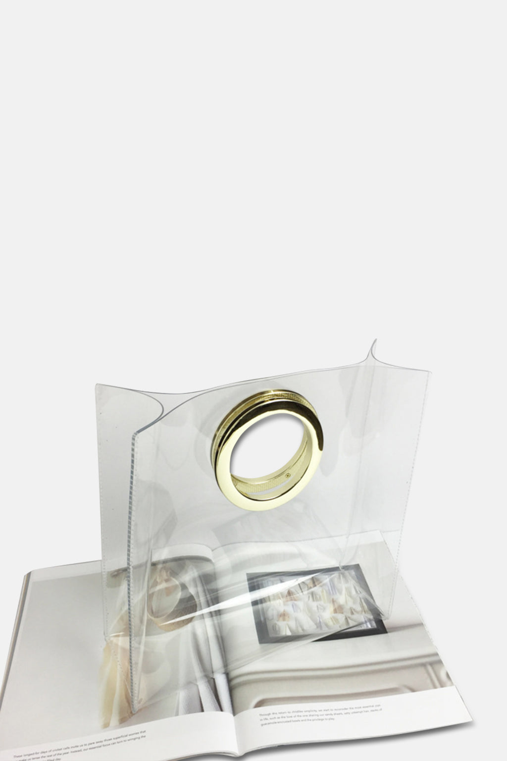 TRANSPARENT BAG WITH GOLD RING HANDLE