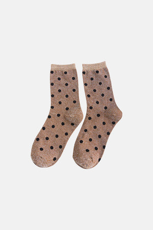 NUDE GLITTER WITH DOTS SOCKS