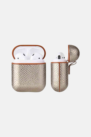 EARBUDS CASE GOLD CROC