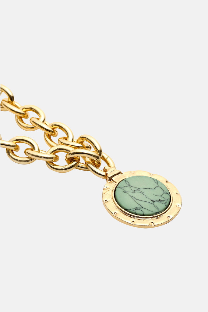 GOLD CHAIN NECKLACE WITH BLUE MARMER STONE