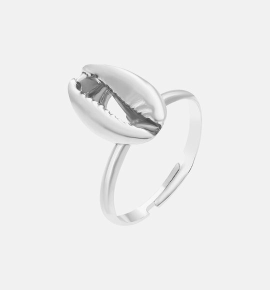 ADJUSTABLE SILVER SHELL RING