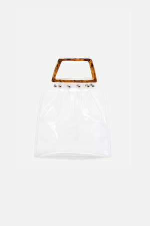 TRANSPARENT BAG WITH TORTOISESHELL HANDLE