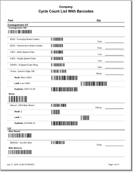 Cycle Count List with Barcodes