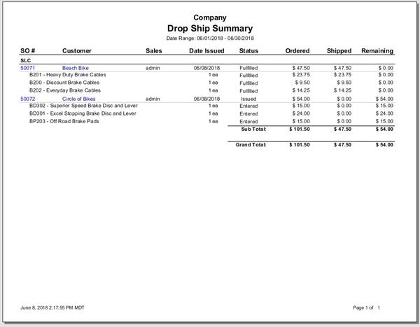 Drop Ship Summary Report