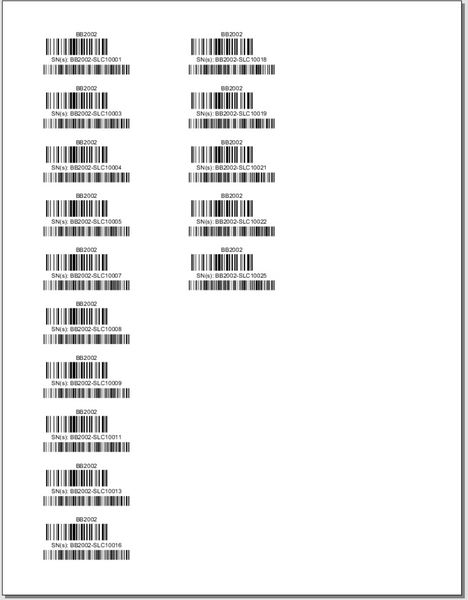 Part Barcodes With Tracking - Avery