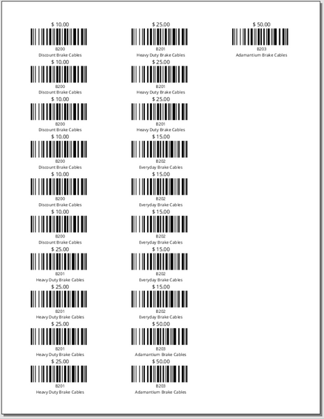 Product Barcodes by Receipt - Avery