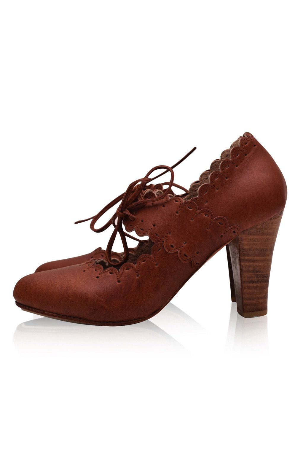 BaliELF Made by Hand Paradise Bird Leather Heels Size 9 Color Aged Whiskey Elf