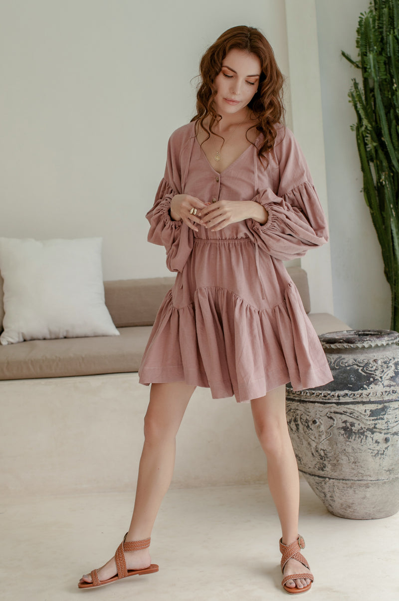 Alessandra Balloon Sleeve Mini Dress