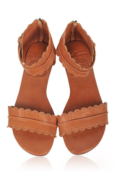 Boho style leather womens sandals