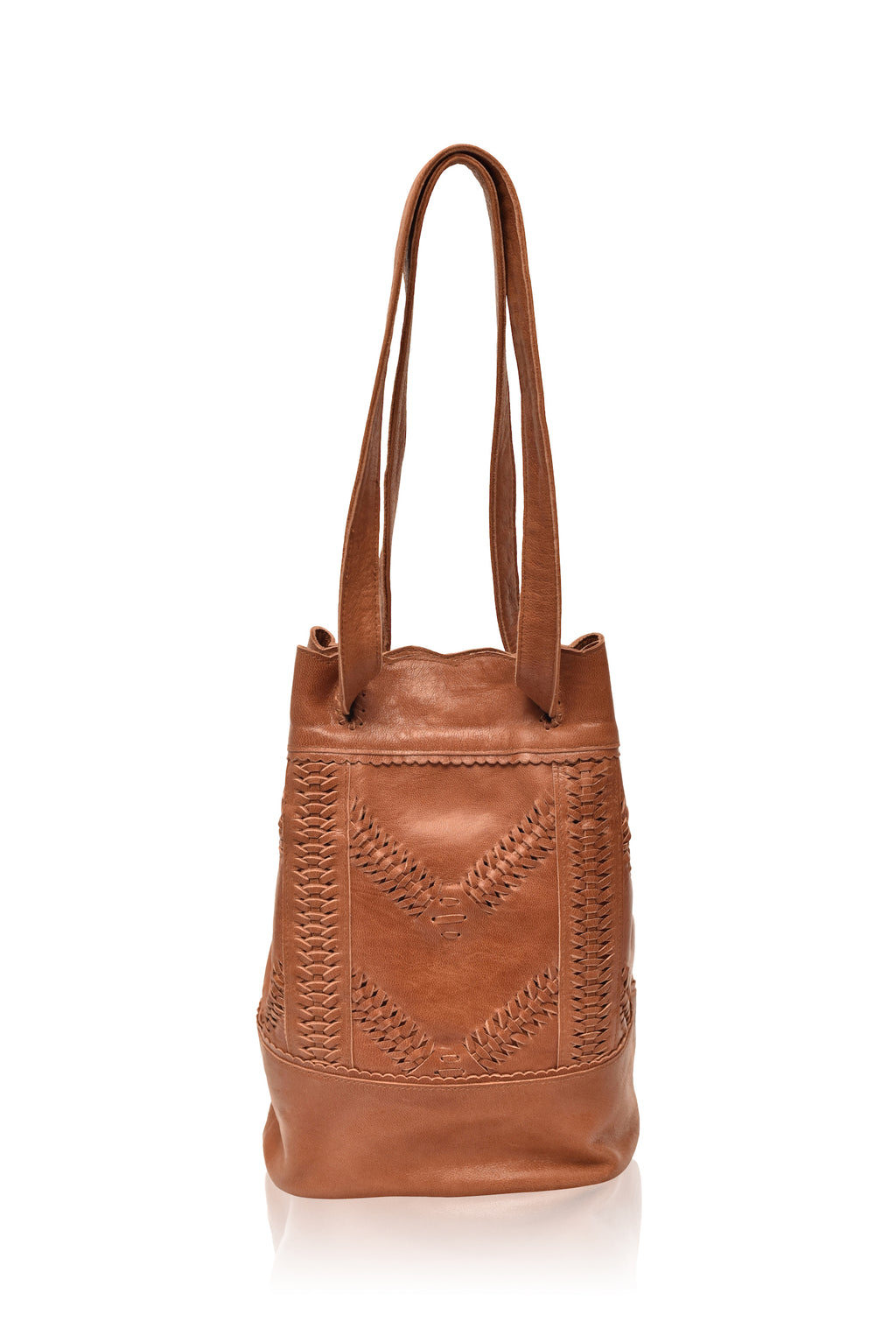 Sunlover Drawstring Leather Bag (Vintage Camel)
