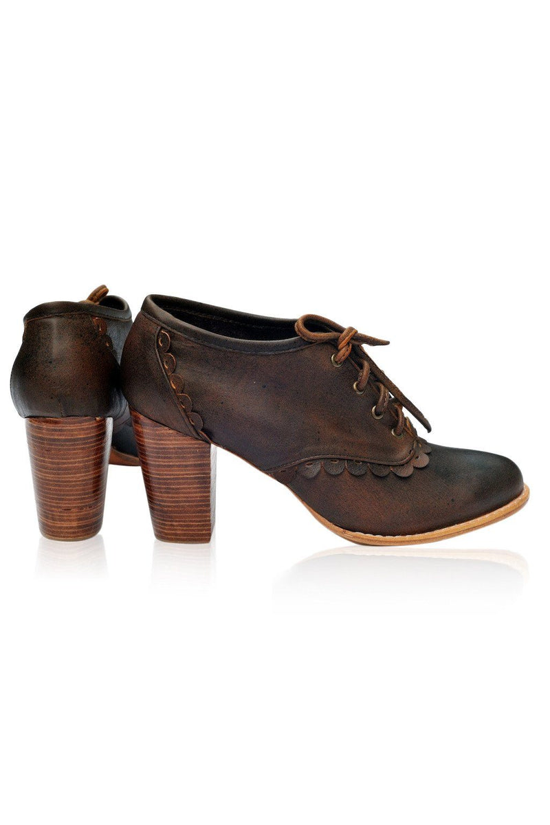 Leather Shoes - Lace Oxford Heels