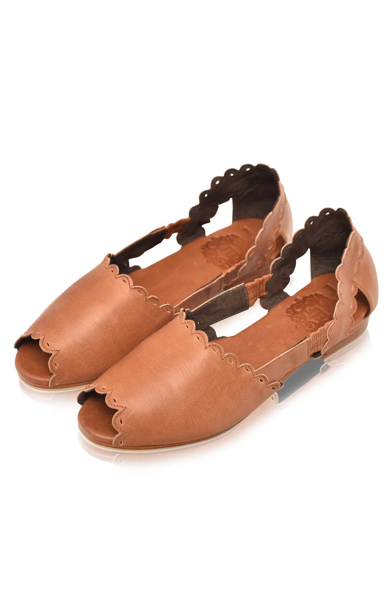 Leather Shoes - Hazy Sun Leather Flats