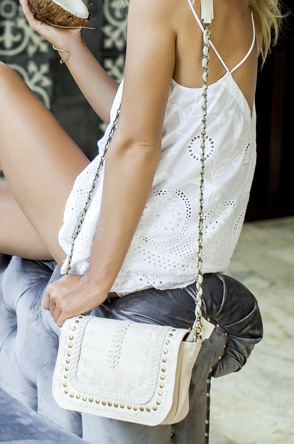 Leather Bag - Queen Of Sun Leather Crossbody (Ivory)