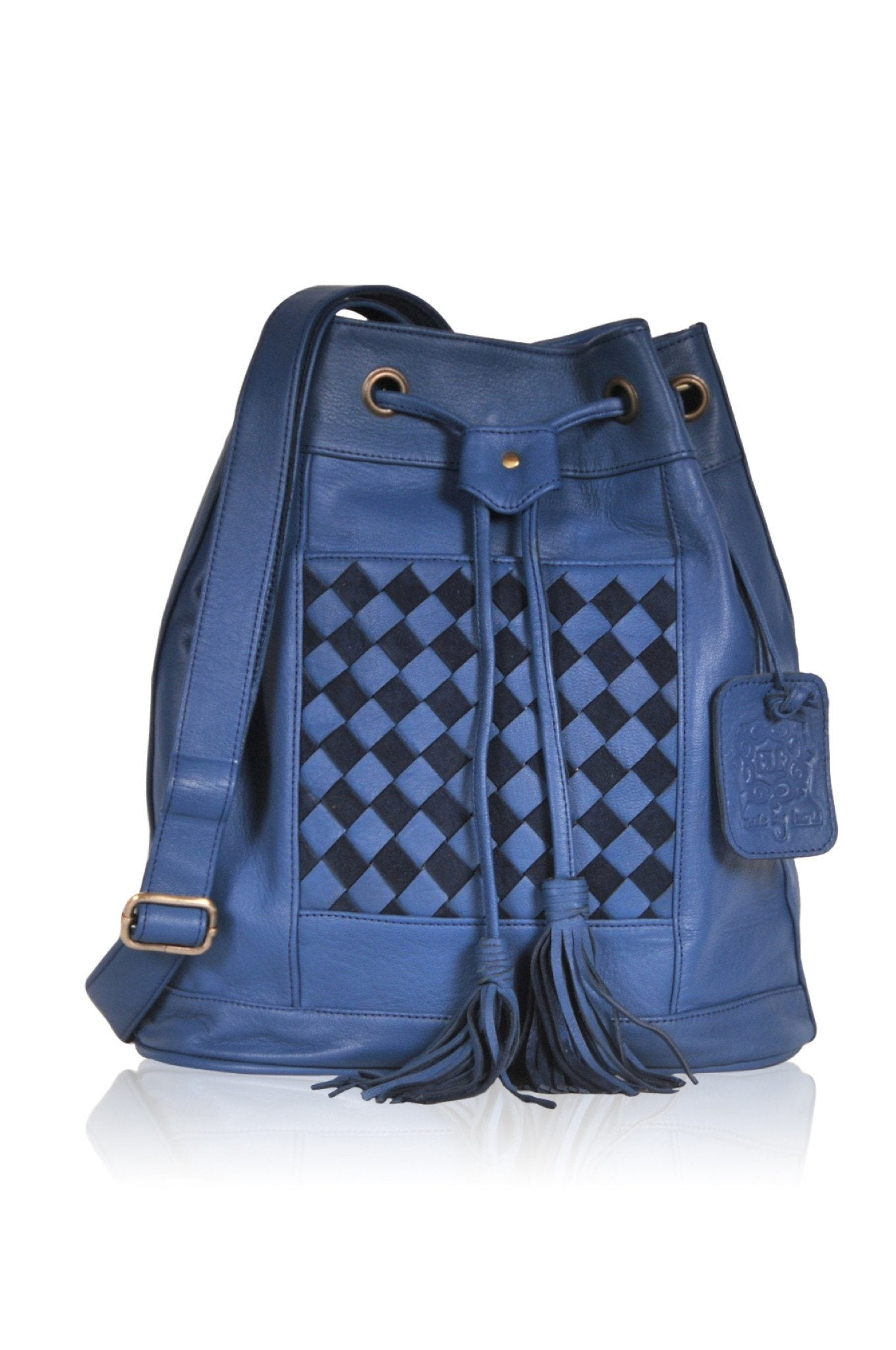Blue leather back pack