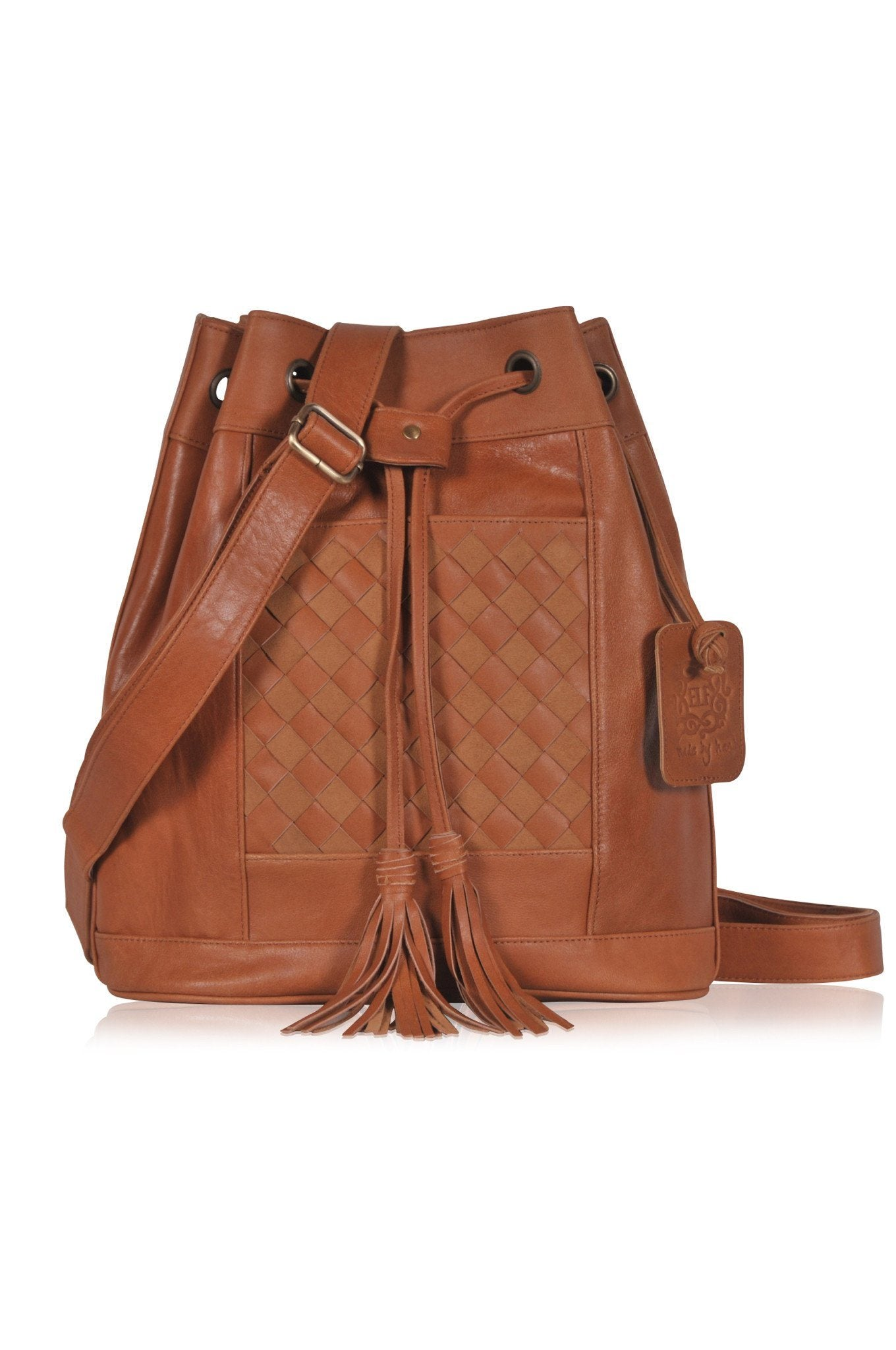 Tan leather back pack