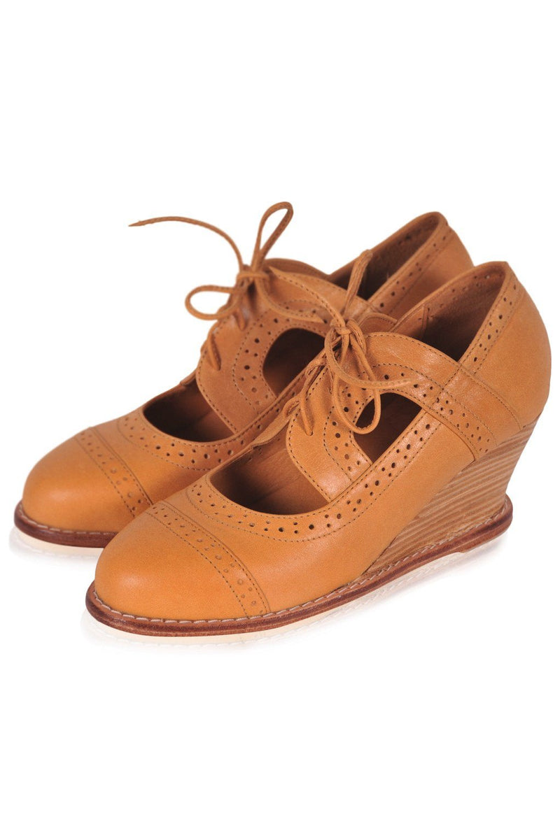 Leather Shoes - Stockholm Oxford Wedges