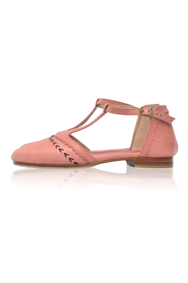 Wonderland T-strap Leather Flats